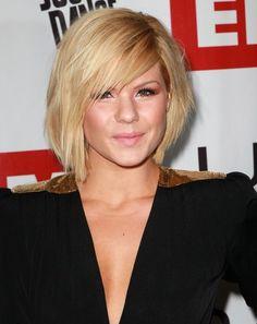 celebrity short hair style bangs
