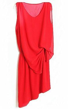 Red Sleeveless Bow Asymmetrical Chiffon Tank Dress - Sheinside.com