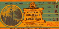 Bud Wilkinson's Oklahoma football team beat K-State for win number 25 in a row. http://www.shop.47straightposters.com/Oklahoma-Football-Tickets-OU-OSU-Tulsa-Tickets_c17.htm