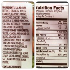 Ingredients and nutritional facts on the new Chopped Salad Siciliano Style.