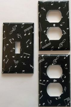 Music Band Notes Symbols Light Switch or Outlet Black  White Bedroom Wall Decor. Different plate styles available.