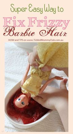 Sage & Frugal Toy Cleaning Tips   No one likes a bad hair day!!! Not even your child's Barbie!!! Click http://ow.ly/q2GK0 to see this Super Easy Way to Fix Frizzy Barbie Hair now!! Your kids can do it!!! Reclaim her long lost beauty today!!  #TickledMummyClub #BarbieHair #CleaningToys