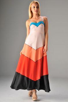 {Colorblock Maxi Dress} floaty & zigzaggy! :)