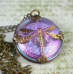 A big Czech glass button with a dragonfly is Victorian in feel.