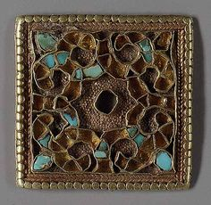.ornamental plaque, 6th–8th century  Tibet/West Asia or western China  Gold with turquoise inlay.VsV.