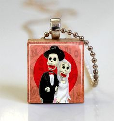 Day of the Dead Bride and Groom Scrabble by MissingPiecesStudio, $6.95