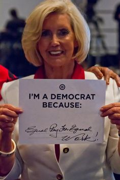 Lilly Ledbetter is a Democrat because she believes in equal pay for equal work. Share your reason at http://my.democrats.org/page/s/why-are-you-a-democrat-new?source=DemPin