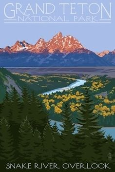 Grand Teton National Park - Snake River Overlook - Lantern Press Poster