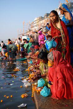 Prayers at Varanasi in the Ganges River, India
