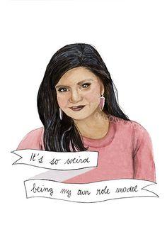Mindy Lahiri watercolor portrait illustration Mindy Kaling The Mindy Project