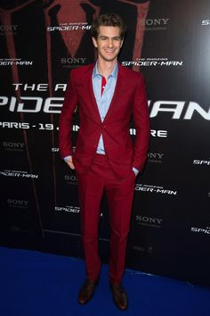 Andrew Garfield wearing Balenciaga for The Amazing Spider Man at Le Grand Rex on June 19, 2012 in Paris, France.    #balenciaga #suit #spiderman #andrewgarfield