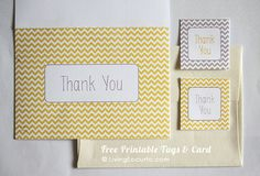 Free Printable Yellow & Gray Chevron Thank You Card & Tags.