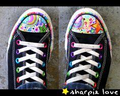 draw, marker, sneaker, converse, shoe art, sharpie art, rainbow, black, art shoes