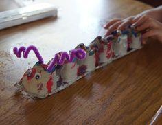 carton caterpillar, egg cups, toddler crafts, egg cartons, hungry caterpillar, craft ideas, kid crafts, christma, toddler activities