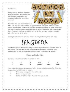Great idea for helping parents understand the stages of writing development!