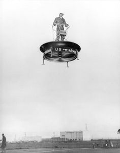 The 1953-57 Hiller VZ-1 Flying Platform was a unique direct lift rotor aircraft, using contra-rotating ducted fans inside a platform that the single pilot stood upon for lift, and controlled by the pilot shifting his body weight around to tilt the platform. You would think over 60 years later we would have perfected this into a real cool flying gizmo thingy, but no.