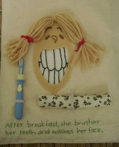 Quiet Book page - cleaning teeth and face