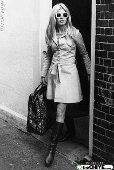 brigitte bardot.  the classics: trench, bag, boots, glasses.
