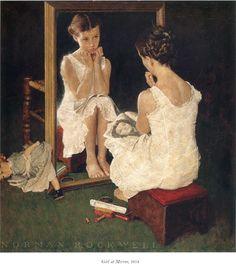 little girls, oil paintings, mirror mirror, dates, norman rockwell, art, buildings, children, daughters