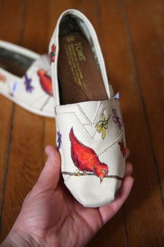 Custom TOMS Shoes - Red Birds and Wildflowers. via Etsy.