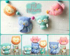 PDF. Owl family garland.  Plush Doll Pattern, Softie Pattern, Soft felt Toy Pattern. on Etsy, $7.00