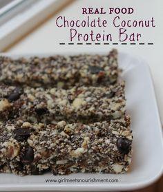 Real Food Chocolate Coconut Protein Bar (Grain-Free, Vegan) - Girl Meets Nourishment