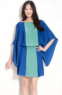 Pleat Front Kimono Sleeve Dress