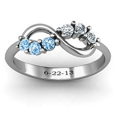 Split Birthstone Infinity Ring, with March and April, and our wedding date... love!