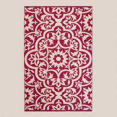Fuchsia Floral Indoor-Outdoor Rugs at Cost Plus World Market's >>  #WorldMarket Outdoor Entertaining, Outdoor Decor Tips,