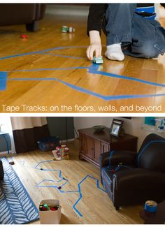 Painter's tape car road, all over the house!