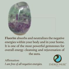 Fluorite absorbs and neutralizes the negative energies within your body and in your home. It is one of the most powerful gemstones for overall energy cleansing and rejuvenation of the aura. #fluorite #energymuse #crystals #healing #cleansing