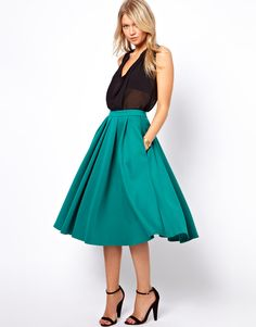 Full Midi Skirt with Box Pleats