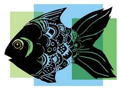 paint print, printmaking ideas, printmaking projects, fish prints, linoprint fish, lino prints, art, lino print ideas, digit experi