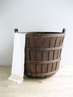Vintage Tall Wooden Basket Farmhouse
