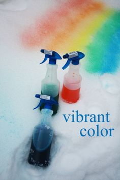 Kiddos can paint the snow. Fun outside idea for winter.