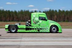 Mean Green, a Volvo-built hybrid big truck, will try to reach speeds in excess of 165 mph (260 km/h) when it takes to a runway in Utah later in April.