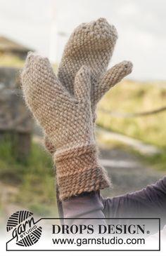 """Bosnian crochet DROPS mittens in """"Eskimo"""". ~ DROPS Design"""