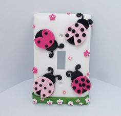 Ladybug - Light Switch or Outlet cover - Pink and Black