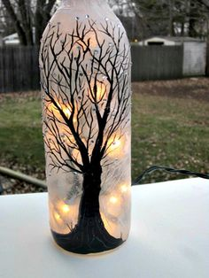Wine Bottle Light, Night Light, Hand Painted Wine Bottle, Black Tree, Sparkles on Etsy, $22.00