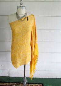 Wobisobi: Off the Shoulder Scarf Shirt / Dress. DIY sew, fashion, shirts, dresses, scarf shirt, scarves, wobisobi, shoulder scarf, diy