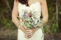 love air plant and cactus bouquet