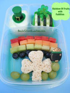 St.Patrick's Day Rainbow bento lunch. www.facebook.com/BentoSchoolLunches