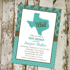 baby boy shower invitation western style, any state, Made in Texas digital, printable file (item 1227)