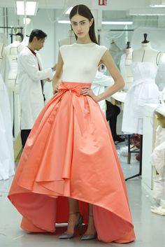 Christian Dior Salmon Dip-Hem Big Ruffels Skirt