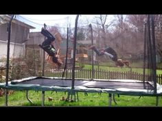 8 and 9 Year Old Gymnastics Tricks and Tumbling on the Trampoline - YouTube