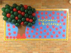 September Birthday Bulletin Board - Apples w/ Balloon Apple Tree