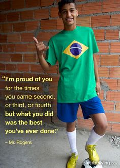 Soccer on the brain?Special activities, interests, and hobbies can boost confidence, help kids make friends, and protect them from bullying behavior. Learn more at http://www.stopbullying.gov!  #bullying #worldcup #quote #mrrogers #education #inspiration