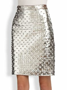 metallic studded pencil skirt. this would go with everything!