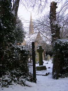 celtic crosses, church