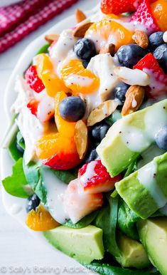 For a lighter meal, try this Strawberry Almond Chicken Salad. It's so flavorful, protein-packed, and has the works!